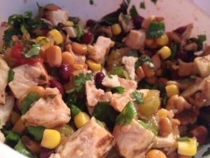 Corn salsa + cilantro + chicken