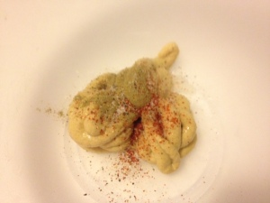 Dijon mustard, cayenne, salt & pepper dredge mixture for chicken cutlets.