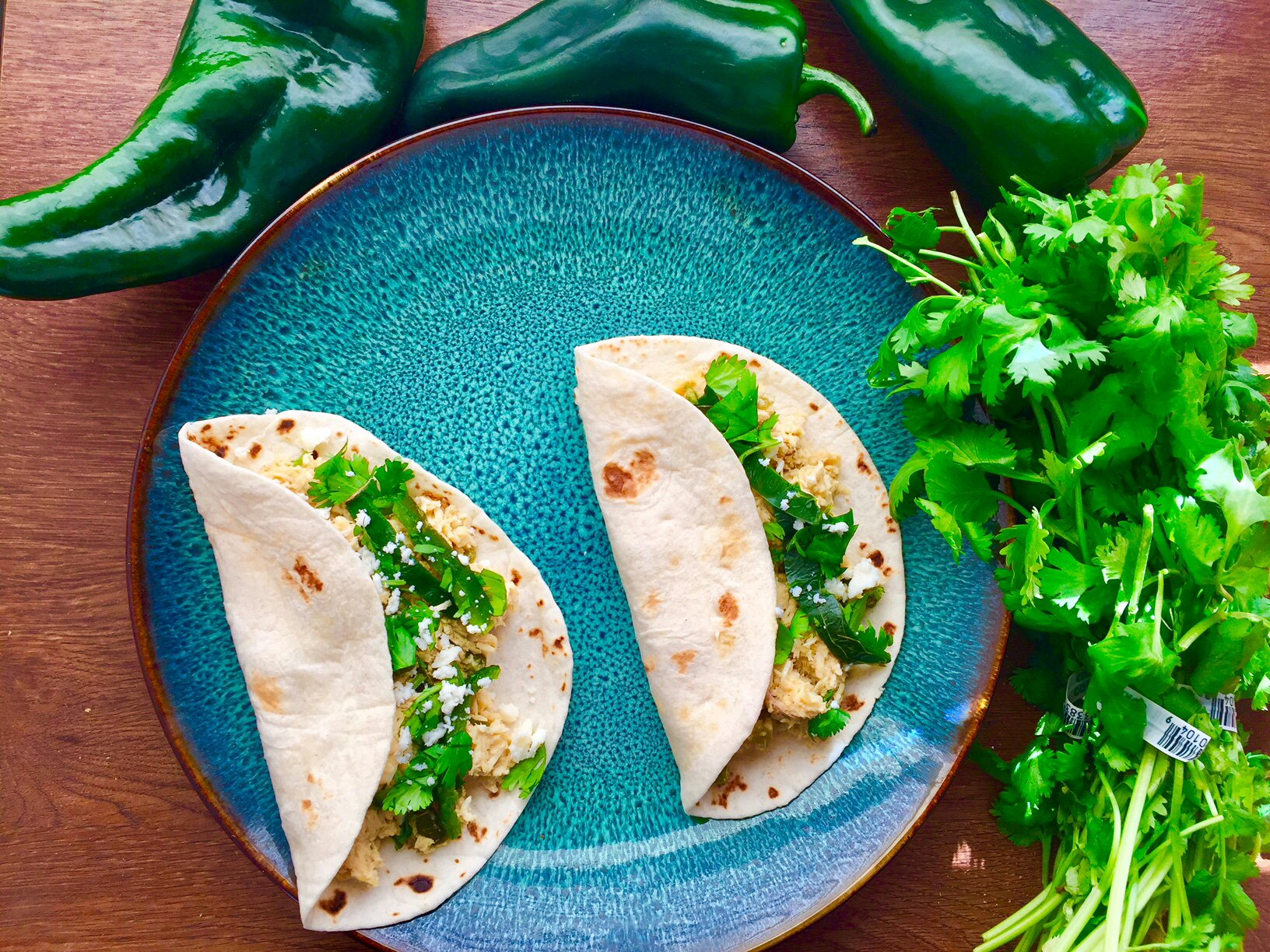 Poblano & Honey-Lime Chicken Tacos – Leen Cuisine